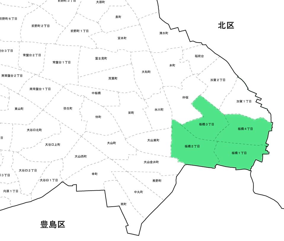 板橋区役所前店配達可能エリア地図